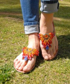 Multicolored Leaves Beaded Handmade Kenyan Slippers Handmade in Kenya available in Jozee boutique