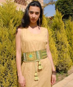 Green Saint Catherine Embroidered Wide Belt Handmade in Egypt & available in Jozee boutique