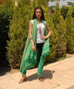Green Handwoven Egyptian Cotton Cardigan Handmade in Egypt & available in Jozee boutique