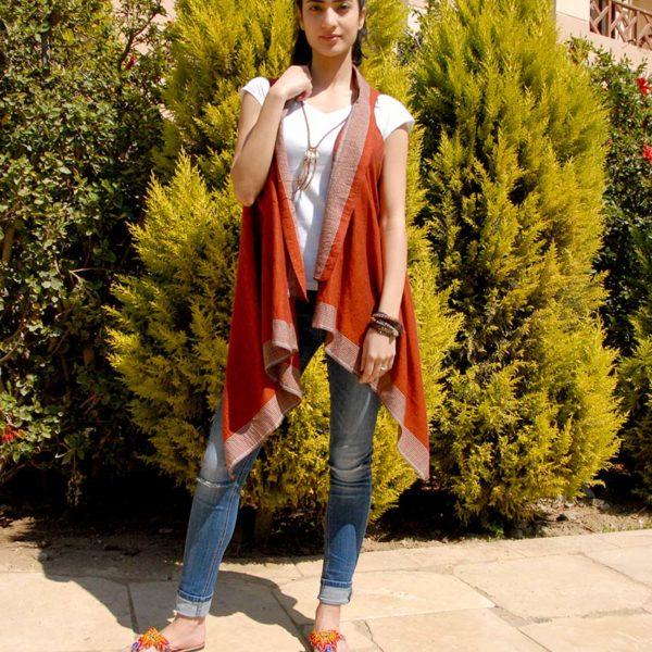 dfeca35215b Dark Orange Handwoven Egyptian Cotton Short Cardigan Handmade in Egypt    available in Jozee boutique