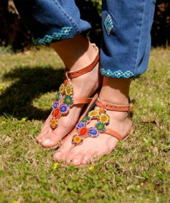 Multicolored Rainbow Circles Handmade Kenyan Sandals Handmade in Kenya available in Jozee boutique