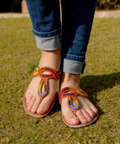 Multicolored Beaded Handmade Kenyan Slippers Handmade in Kenya available in Jozee boutique