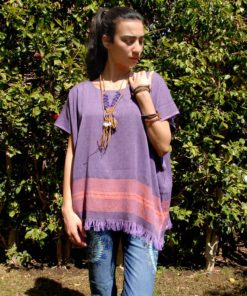 Purple Handwoven Egyptian Cotton Top Handmade in Egypt & available in Jozee boutique