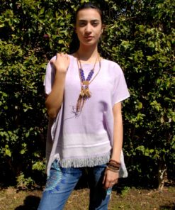 Lilac Handwoven Egyptian Cotton Top Handmade in Egypt & available in Jozee boutique