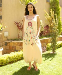 Beige Sleeveless Siwa Embroidered Linen Dress Matched With Beaded Slippers Handmade in Egypt & available in Jozee boutique