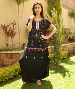 Black Siwa embroidered linen dress handmade in Egypt & available at Jozee boutique