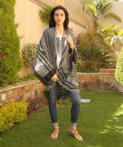 Black & Silver Striped Loom Woven Kimono Handmade in Egypt & available in Jozee boutique