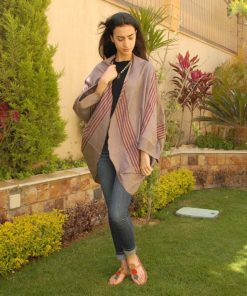 Greyish Dark Red Striped Loom Woven Kimono Handmade in Egypt & available in Jozee boutique