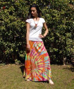 Dark Rainbow Tie Dyed Maxi Skirt Handmade in Egypt & available in Jozee boutique