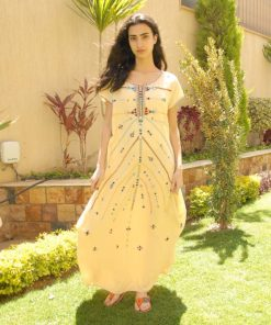 Light Beige Siwa Embroidered Linen Dress Handmade in Egypt & available in Jozee boutique