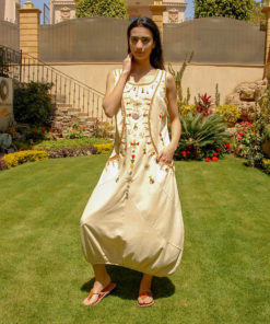 Beige Sleeveless Siwa Embroidered Linen Dress Handmade in Egypt & available in Jozee boutique