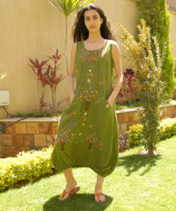 Apple Green Sleeveless Siwa Embroidered Linen Dress Handmade in Egypt & available in Jozee boutique