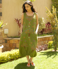 Apple green sleeveless Siwa embroidered linen dress handmade in Egypt & available at Jozee boutique