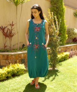 Turquoise sleeveless Siwa embroidered linen dress handmade in Egypt & available at Jozee boutique