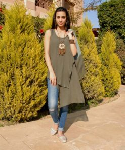 Olive Cotton Asymmetric Sleeveless Top Handmade in Egypt & available in Jozee boutique