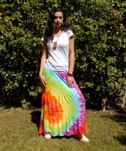 Rainbow Tie Dyed Maxi Skirt Handmade in Egypt & available in Jozee boutique
