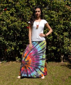Black & Multicolored Tie Dyed Maxi Skirt Handmade in Egypt & available in Jozee boutique