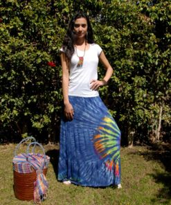 Navy Blue Tie Dyed Maxi Skirt Handmade in Egypt & available in Jozee boutique