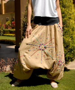 Beige Siwa Embroidered Harem Pants Handmade in Egypt & available in Jozee boutique