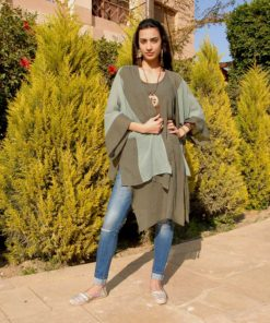 Olive Cotton Asymmetric Sleeveless Top Matched With Olive Cotton Light Poncho Handmade in Egypt & available in Jozee boutique