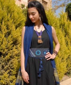 Dark Blue Saint Catherine Embroidered Wide Belt Handmade in Egypt & available in Jozee boutique