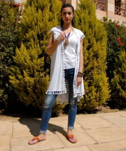 White Hand Printed Cotton Sleeveless Cardigan Handmade in Egypt & available in Jozee boutique