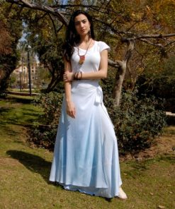 White & Blue Hand Printed Cotton Wrap Skirt Handmade in Egypt & available in Jozee boutique
