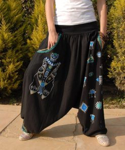 Black Hand Painted Harem Pants Handmade in Egypt & available in Jozee boutique