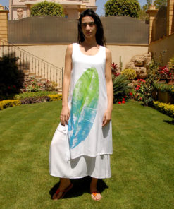 Off White Cotton Hand Printed Dress Handmade in Egypt & available in Jozee boutique