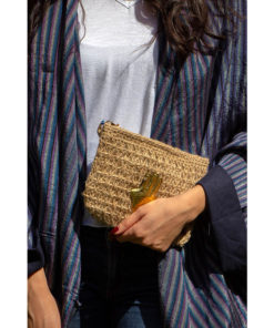 Dobar Clutch with Brass Kaf Handmade in Egypt & available in Jozee boutique