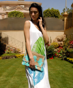Off White Cotton Hand Printed Dress Matched With Summer Clutch & Beaded Slippers Handmade in Egypt & available in Jozee boutique