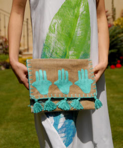 Beige & Turquoise Clutch with Vinyl Liner Handmade in Egypt & available in Jozee boutique