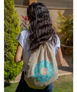 Beige & Turquoise Burlap Backpack Handmade in Egypt & available in Jozee boutique