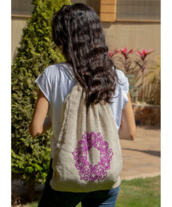 Beige & Purple Burlap Backpack Handmade in Egypt & available in Jozee boutique