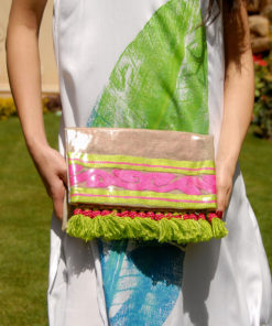 Multicolored Summer Clutch with Tassels & Vinyl Liner Handmade in Egypt & available in Jozee boutique