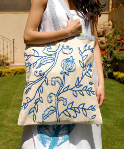 Off White & Blue Embroidered Linen Shoulder Bag Handmade in Egypt & available in Jozee boutique