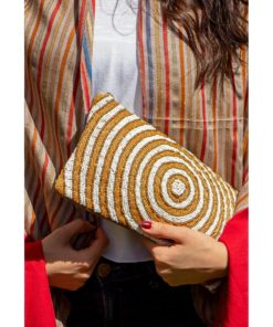 White & Gold Leather Beaded Clutch Handmade in Egypt & available in Jozee boutique