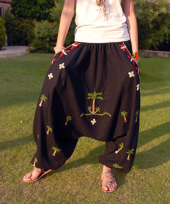 Black Siwa Embroidered Harem Pants Handmade in Egypt & available in Jozee boutique