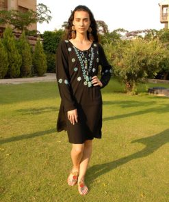 Black Saint Catherine Embroidered Viscose Dress Handmade in Egypt & available in Jozee boutique