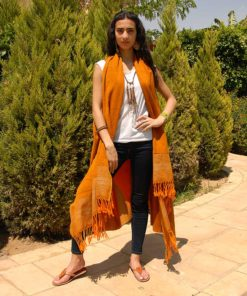 Orange Handwoven Egyptian Cotton Cardigan Handmade in Egypt & available in Jozee boutique