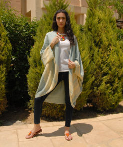 Light Green Handwoven Egyptian Cotton Kimono Handmade in Egypt & available in Jozee boutique