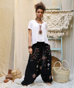 Black Siwa embroidered harem pants handmade in Egypt & available at Jozee Boutique
