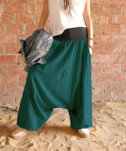 Teal Linen harem pants made in Egypt & available at Jozee boutique