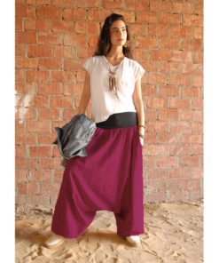 Fuschia linen harem pants made in Egypt & available at Jozee boutique