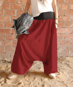Red linen harem pants made in Egypt & available at Jozee boutique