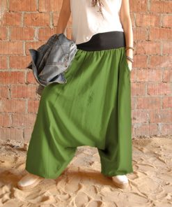 Green linen harem pants made in Egypt & available at Jozee boutique