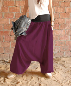 Violet linen harem pants made in Egypt & available at Jozee boutique