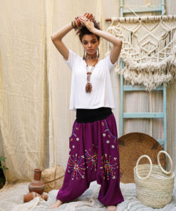 Purple Siwa embroidered harem pants handmade & available at Jozee Boutique