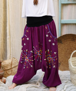 Purple Siwa embroidered harem pants handmade in Egypt & available at Jozee Boutique