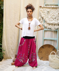 Fuchsia Siwa embroidered harem pants handmade in Egypt & available at Jozee Boutique